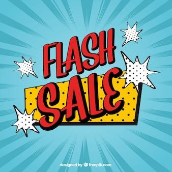 Niebieski projekt sprzedaży flash w stylu komiksu