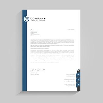 Niebieski prosty papier firmowy premium