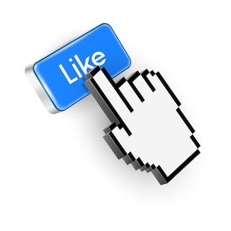 Niebieski przycisk z tekstem like i kursorem w dłoni.