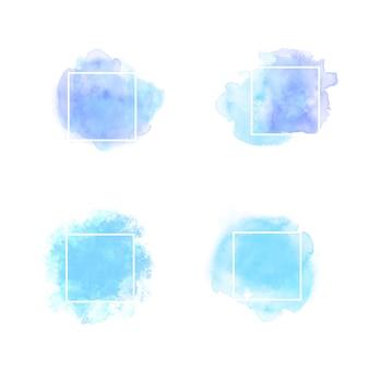 Niebieski rama tekstowa akwarela