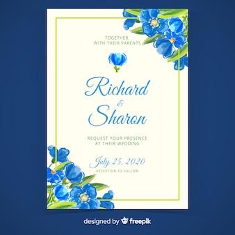 Niebieski ręcznie malowane szablon zaproszenia ślubne kwiatowy