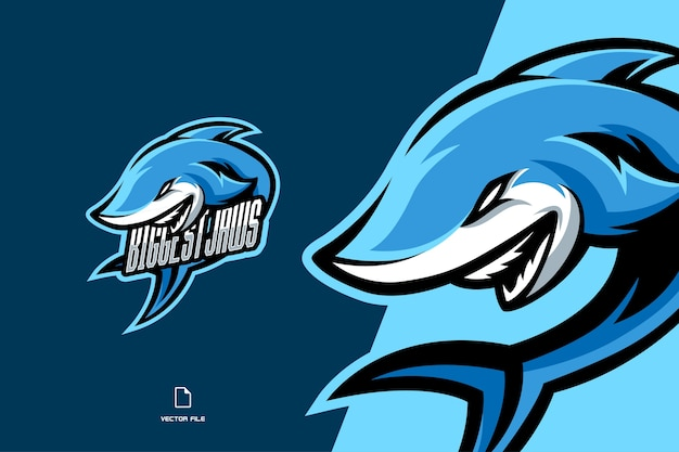 Niebieski rekin maskotka gier sport logo szablon ilustracja