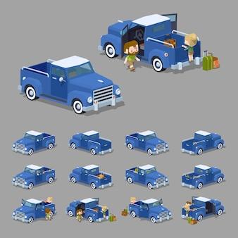 Niebieski retro izometryczny pickup 3d lowpoly