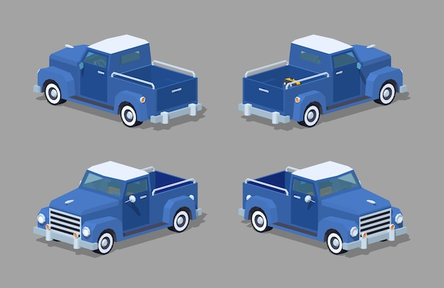 Niebieski retro izometryczny pickup 3d