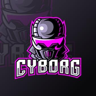 Niebieski robot cyborg sport esport logo szablon z żelaznym mundurem