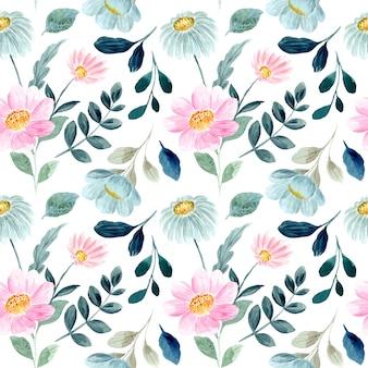Niebieski różowy kwiatowy akwarela bezszwowe wzór