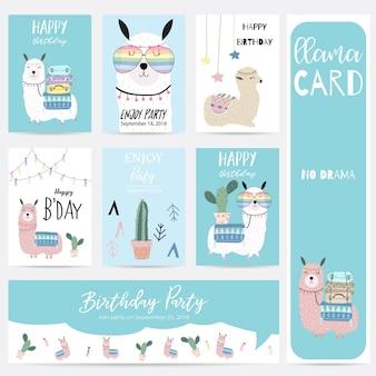 Niebieski różowy ręcznie rysowane słodkie karty z lama, okulary, kaktus i kapelusz