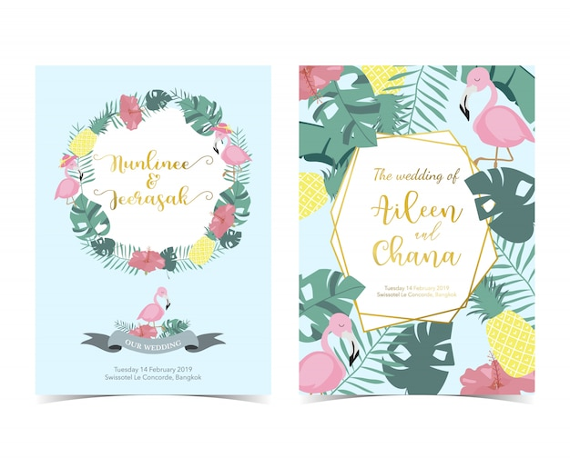 Niebieski różowy zaproszenie z palmy, ananas, hibiskus