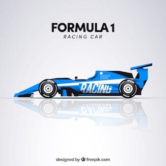 Niebieski samochód wyścigowy formuły 1