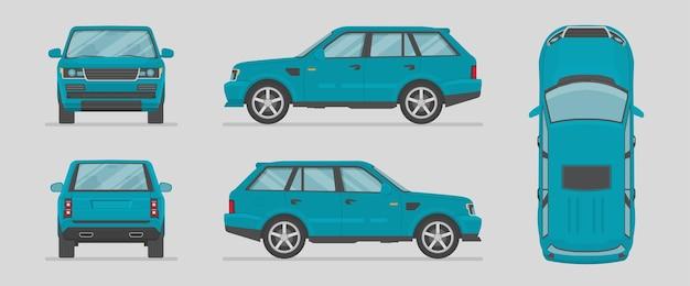 Niebieski samochód z różnych stron