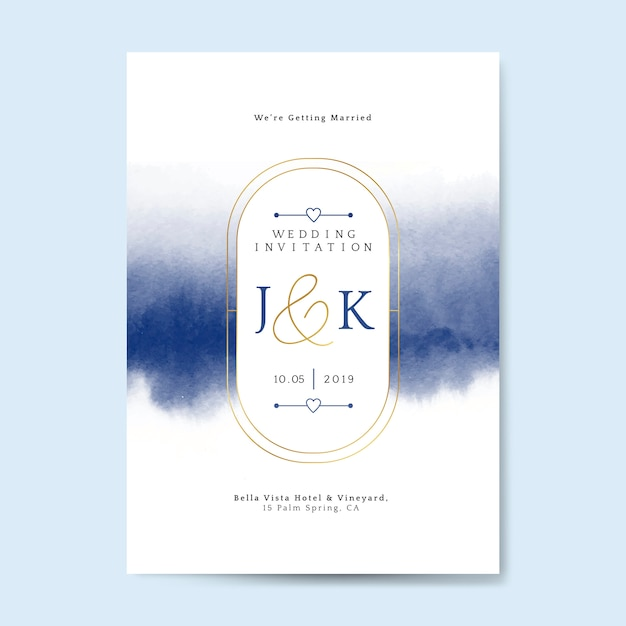 Niebieski ślub zaproszenie karta wektor