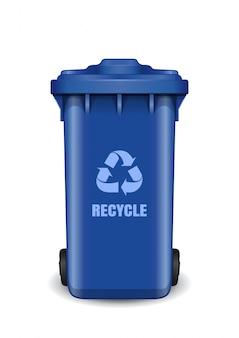Niebieski śmietnik. pojemnik na śmieci z symbolem recyklingu odpadów. recykling kosza na śmieci z symbolem strzałki recyklingu.