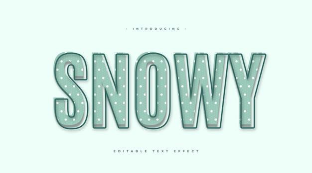 Niebieski śnieżny efekt tekstowy w stylu kreskówkowym