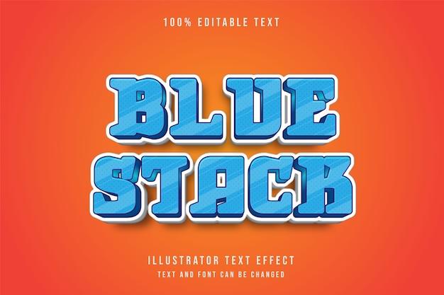 Niebieski stos, 3d edytowalny efekt tekstowy niebieski gradacja komiks stylu