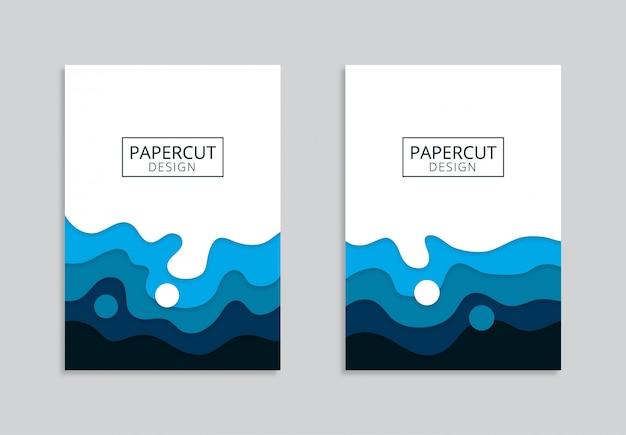 Niebieski streszczenie a4 szablon z falistymi kształtami