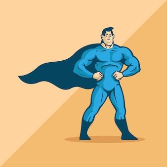 Niebieski superbohater. pozycja stojąca. znak logo. maskotka