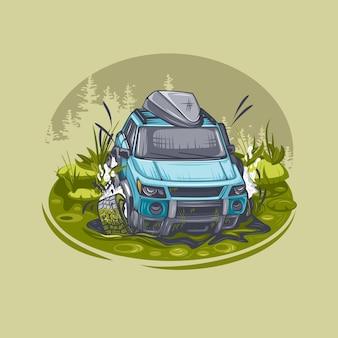 Niebieski suv utknął na bagnach i próbuje się wydostać.