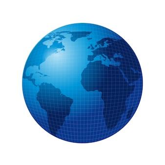Niebieski świat na białym tle