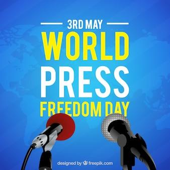 Niebieski świat wolności prasy dni tło