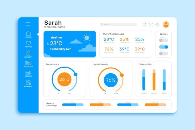 Niebieski szablon aplikacji do zarządzania smartfonem inteligentnym telefonem