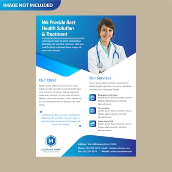 Niebieski szablon broszury opieki zdrowotnej