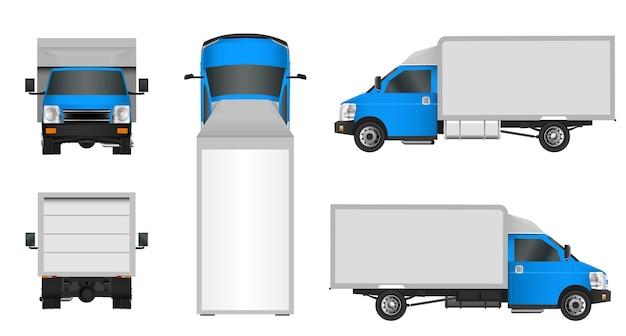 Niebieski szablon ciężarówki. furgonetka wektor ilustracja eps 10 na białym tle. dostawa miejskiego pojazdu użytkowego