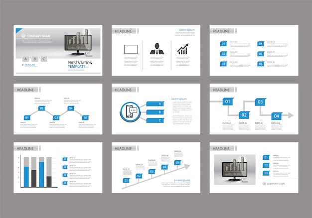 Niebieski szablon do prezentacji slajdów na tle.