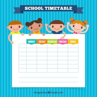 Niebieski szablon harmonogramu szkolnego