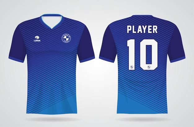 Niebieski szablon koszulki sportowej do strojów drużynowych i projektu koszulki piłkarskiej