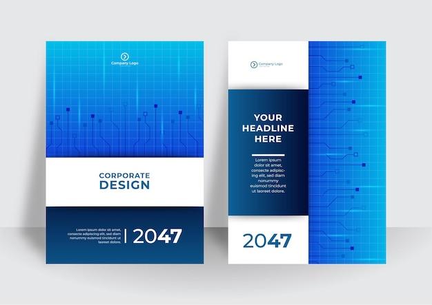 Niebieski szablon okładki z koncepcją technologii tła. streszczenie technologia pokrywa z płytką drukowaną. koncepcja projektowania broszury high-tech. zestaw futurystycznego układu biznesowego