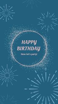 Niebieski szablon powitania urodzinowego z wybuchową ilustracją fajerwerków