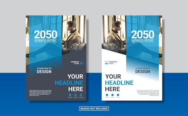 Niebieski szablon projektu okładki korporacyjnej książki