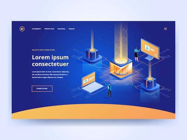 Niebieski szablon strony docelowej usługi hostingowej. technologia komputerowa strona główna pomysł interfejsu użytkownika z ilustracjami wektorowymi izometrycznymi. wsparcie techniczne, koncepcja banera internetowego centrum danych w ciemnym kolorze 3d