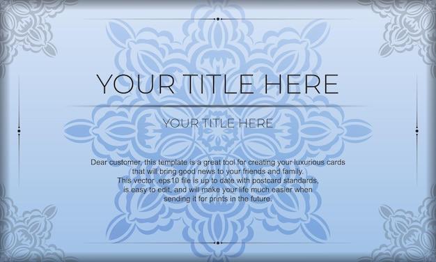 Niebieski szablon transparentu z luksusowymi czarnymi ornamentami i miejscem na swój projekt. projekt karty zaproszenie z rocznika wzorów.