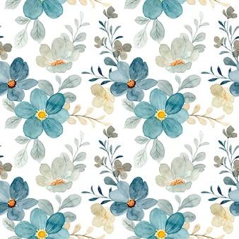 Niebieski szary kwiatowy wzór akwarela
