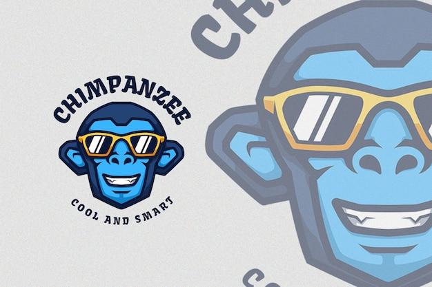 Niebieski szympans z ilustracją fajne okulary przeciwsłoneczne