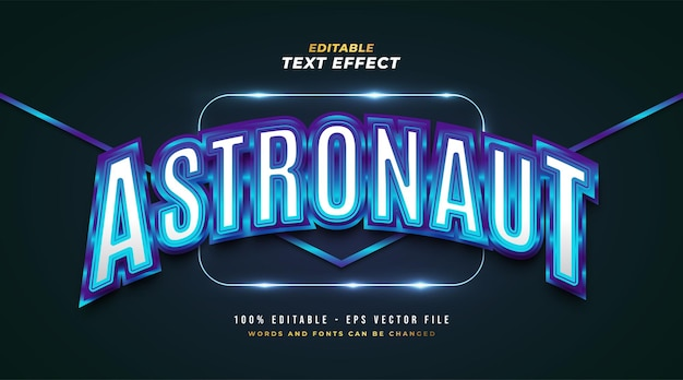 Niebieski tekst astronauta w stylu retro z błyszczącym i zakrzywionym efektem. edytowalny efekt stylu tekstu