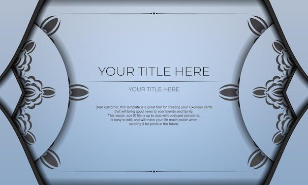 Niebieski transparent wektor z luksusowe czarne ozdoby i miejsce na twój tekst. szablon do druku zaproszenia do druku z rocznika wzorów.