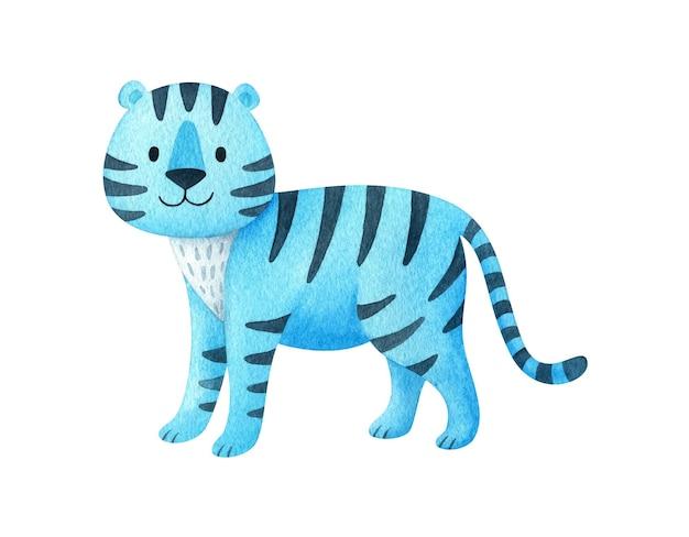 Niebieski tygrys. akwarela ilustracja zwierzę w stylu dla dzieci. świąteczny wystrój