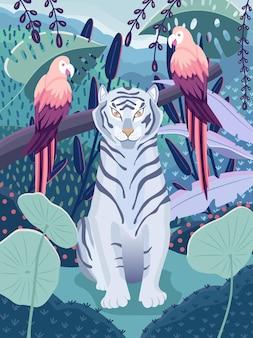 Niebieski tygrys z kolorowymi papugami w dżungli. piękna scena dzikiej przyrody z dzikimi zwierzętami i kolorową przyrodą. ilustracja wektorowa.