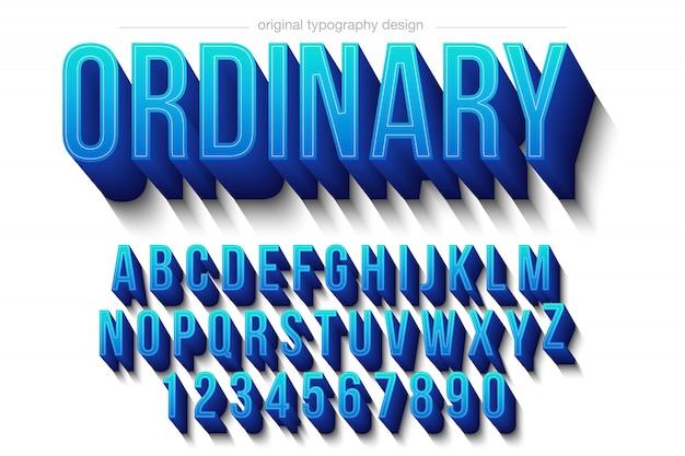 Niebieski typ pogrubiony cień typografii