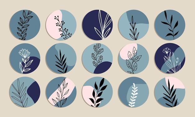 Niebieski vintage abstrakcyjny kształt instagram highlight cover vector collection