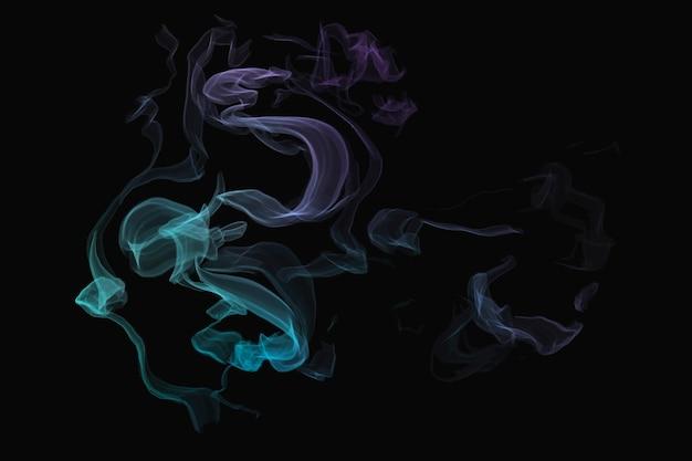 Niebieski wektor elementu dymu na czarnym tle