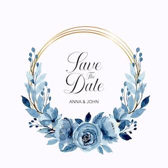 Niebieski wieniec kwiatowy akwarela ze złotą ramą
