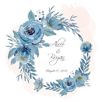 Niebieski wieniec kwiatowy akwarela