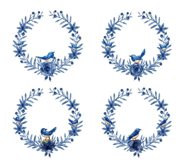 Niebieski wieniec kwiatowy z akwarelą