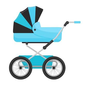 Niebieski wózek dziecięcy na białym tle.
