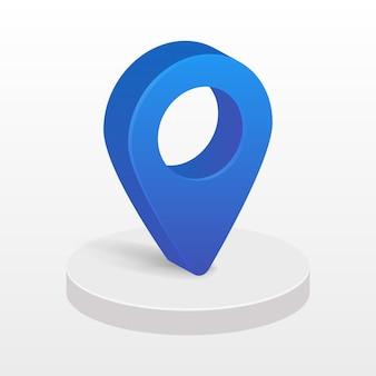Niebieski wskaźnik 3d mapy w podium koło na białym tle