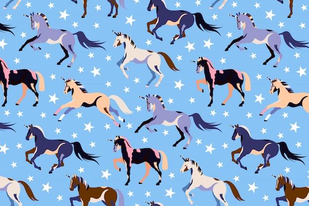 Niebieski wzór jednorożca. jednolity wzór jednorożca i gwiazdy. piękne magiczne konie. kucyk ilustracja dzieci. uruchamianie jednorożców. ręcznie rysowane projekt dla sieci i druku.