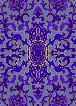 Niebieski wzór kwiatowy.